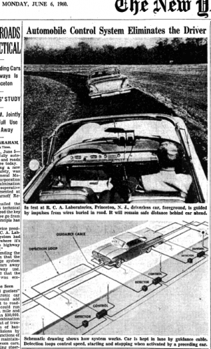 1960 NYT Cover Story on Driverless Cars